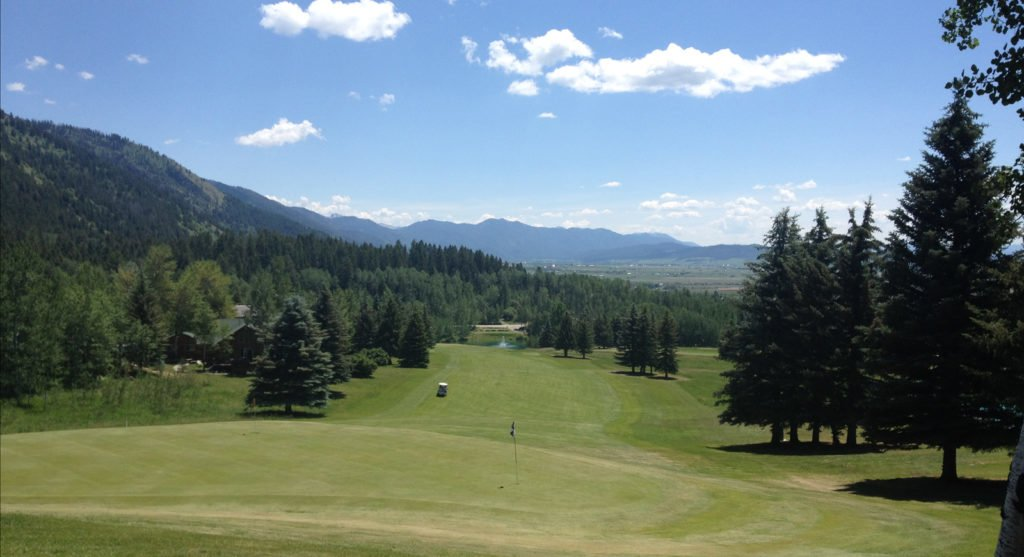 Mountain views from the 9th hole at Aspen Hills, WY
